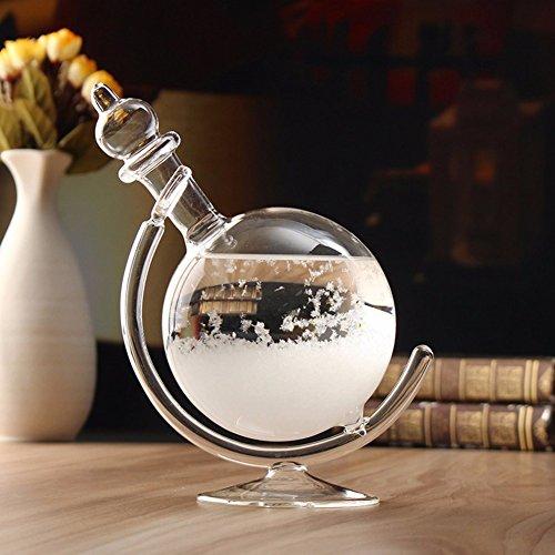 (Zehui Creative Weather Forecast Crystal Revolving Globe Shape Storm Glass Home Decor Christmas Gift with Glass Base)