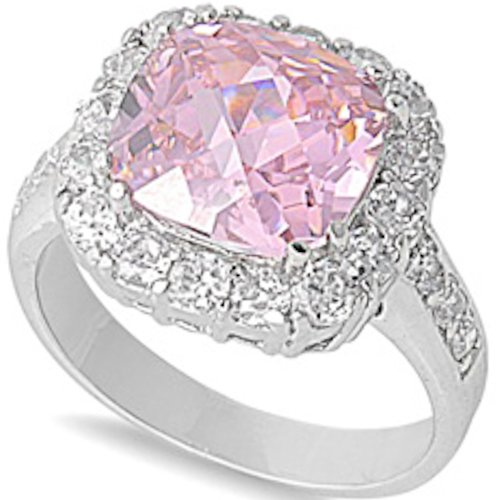 Pink Cz & White Cubic Zirconia .925 Sterling Silver Ring Size 8