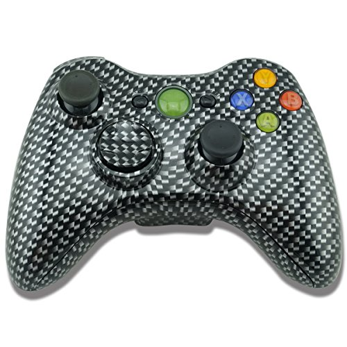 YTTL® Hydro Dipped Black Gold Carbon Fiber Wireless Controller Replacement Shell/Buttons for XBOX 360 Wireless Controller