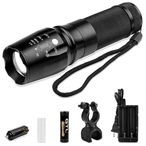 Sunperlon Brightest LED Tactical Flashlight CREE Zoomable Adjustable Focus-5 Modes 800 Lumens-Waterpoof Outdoor Torch with Rechargeable 18650 Lithium Ion Battery and Charger