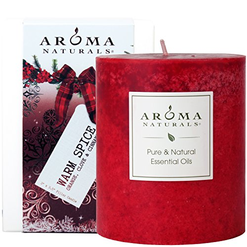 (Aroma Naturals Holiday Essential Oil Scented Pillar Candle, Orange, Clove and Cinnamon, Warm Spice, 3 inch x 3.5 inch)