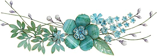 Metal Wall Sculpture Flower Lotus Metallic Paint Red Pink Gold Multi Color Large