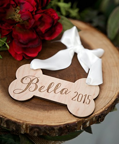 Dog Pet Ornament Personalized Rustic Wooden Dog Bone Ornament Engraved for Christmas Tree or Holiday Decor