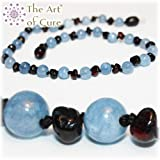 The Art of Cure Baltic Amber Teething Necklace for Baby (Cherry/Aquamarine)
