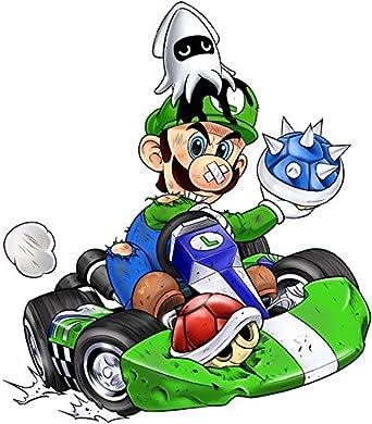Okiwoki Felpa Bambino e Ragazzo Nera Mario Kart umoristico con Luigi Parodia Mario Kart Ref:670
