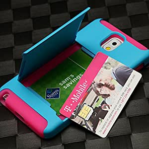Gencase Hybrid Dual Layer Case with Credit Card Holder for Samsung Note 3 N9000 - Blue Pink