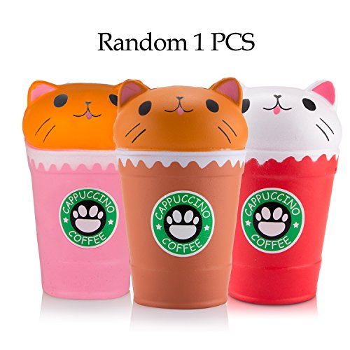 WATINC 1Pcs Cute Squishy, coffee cat Cream Scented Slow Rising Squishy, Kid Toy, Lovely Toy,Stress Relief Toy,Decorations Toy Gift Fun (coffee cat)