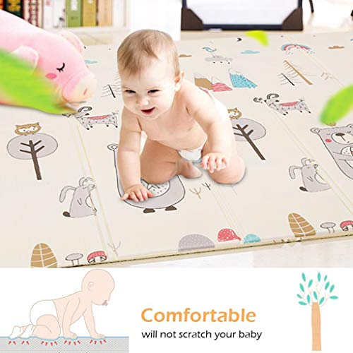 Baby Play Mat Thick Baby Crawling Folding Mat Non-Toxic Double-Sided Waterproof Antiskid Children Play Mat Carpet for Baby Toddler Kids, Extra Large 79