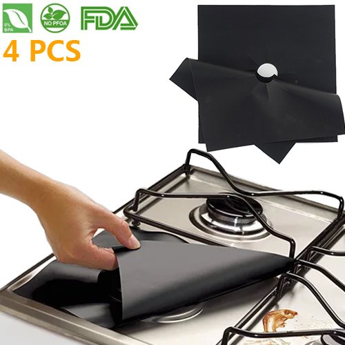 Learn More About Reusable Gas Stove Burner Covers - 4 PCS Non-stick Cuttable Protectors Clean Liners...