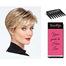 Go For It Wig Color SS44/60 SHADED SUGARED LICORICE - Raquel Welch Wigs Monofilament Crown Lace Front Women's Boy Cut memory Cap 3 Bundle with Comb, MaxWigs Hair Loss Booklet