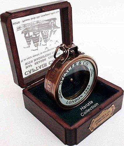 真鍮Magnified Spencerコンパスwith Woodenボックス~マップコンパス~ Marine真鍮コンパス B01KEELA28