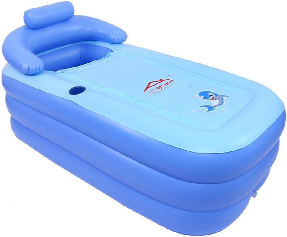 Bathtub Bath Barrel Inflatable Adult Body Folding Bath Barrel Plastic Household Tub(Blue,160cmx64cmx84cm)