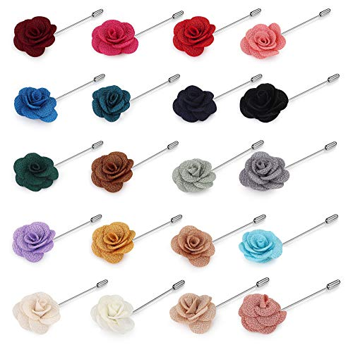 Hanpabum 20 Pieces Men's Lapel Pins Handmade Camellia Flower Boutonniere Stick for Suits Wedding -