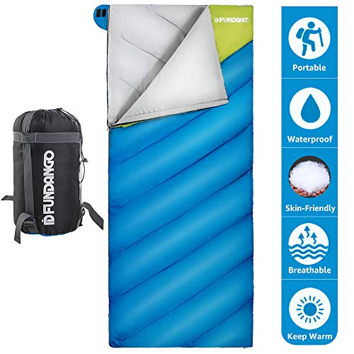 FUNDANGO Lightweight Oversize Sleeping Bag Portable for Cool Weather Camping, Hiking,Backpacking with Compression -