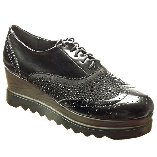 Angkorly - Zapatillas de Moda Zapato acento zapato derby zapatillas de plataforma mujer strass perforado Talón Plataforma 6 CM - Negro