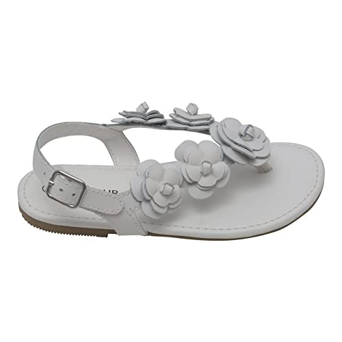 f250986be3494c L Amour Girls White Flower Blossom Accent Buckle Thong Sandals 8 Toddler