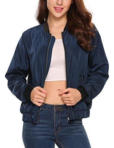 Beyove Women's Bomber Jacket Solid Biker Quilted Lightweight Coat