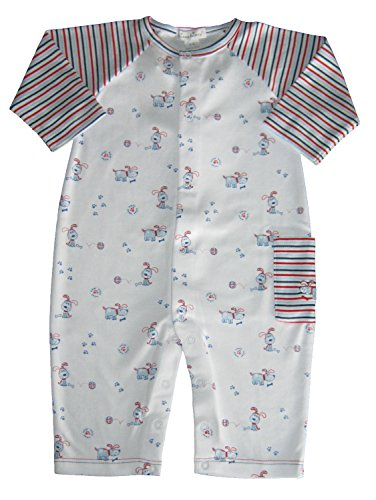 Multi Colored Paw Prints - Kissy Kissy Baby-Boys Infant Pup Paw-trol Print Playsuit-Multicolored-0-3 Months