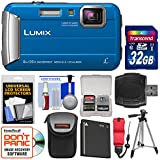 Panasonic Lumix DMC-TS30 Tough Shock & Waterproof Digital Camera (Blue) 32GB Card + Case + Battery + Tripod + Float Strap + Kit