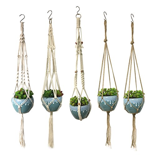 Wartoon 5 PCS Elegant Plant Hanger Indoor Outdoor Hanging Planter Basket 4 Legs 40 inch for Mother's Day Round & Square Pots, Bohemian Style& Unmatched Finesse