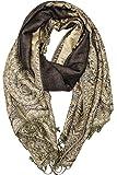 Achillea Luxurious Big Paisley Jacquard Layered Woven Pashmina Shawl Wrap Scarf Stole (Dark Brown)