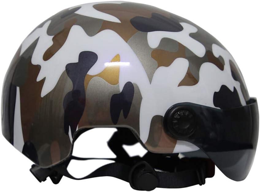 GWM 電動バイクヘルメット、男性電池車女性の冬の二重レンズのオープンフェイスヘルメット、四季ユニバーサルフルカバーの防雨日焼け止めの人格のヘルメット、機関車のレトロなハーフヘルメット (色 : 迷彩) 迷彩