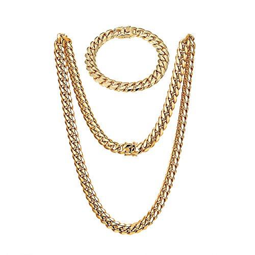 "Tuhe Gold Filled Cuban Link Chain And Bracelet Double Clip Box Clasp for Men Women Necklace 30"" Bracelet 9""Width 10mm (SET) (Cuban Double Link Bracelet)"