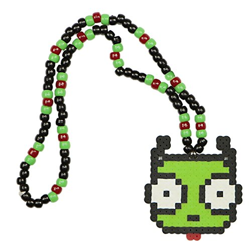 Frog Girr Kandi Necklace, Perler Necklace, Rave Accessories, Beaded Necklaces halloween]()