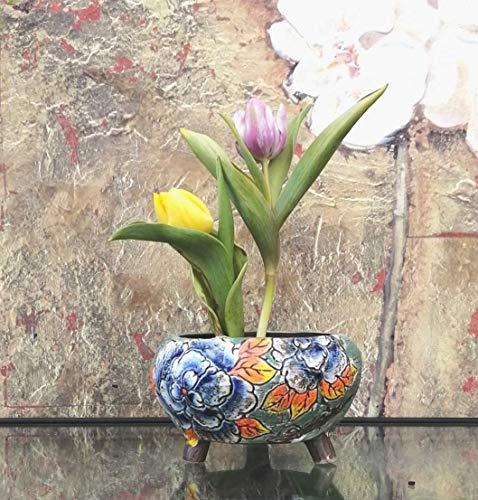 Hand Carved & Painted Ceramic Plant Pot with Drainage   Flower Vase Home Decor   Succulent Cactus Herb Planter 5