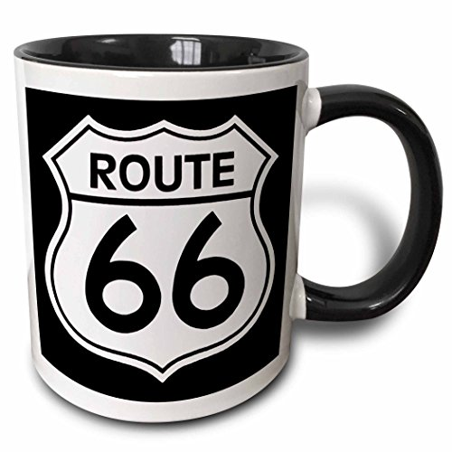 3dRose 110012_4 Route 66 Two Tone Black Mug 11 oz White ()