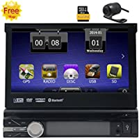 Free Gift Rear Camera 8GB Map Radio Stereo 1 din 7Inch Car DVD Player GPS Navigation in Dash Autoradio bluetooth 800MHZ CPU 256M RAM 128MB ROM Headunit Detachable Front Face Panel Receiver