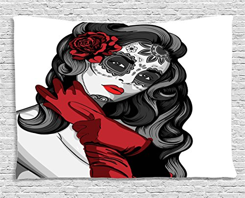 Ambesonne Skulls Decorations Collection, Sexy Sugar Skull Lady with Mexican Style Floral Mask Evil Gothic Dead Art, Bedroom Living Room Dorm Wall Hanging Tapestry, 60W X 40L Inch, Ruby Grey ()
