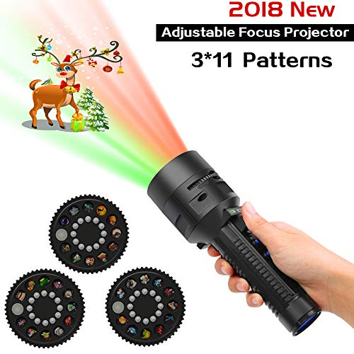 (Syslux Handheld Halloween Christmas Lights Projector, Holiday Light & Flashlight, 3 Slides Adjustable Focus Projector Light for Kids Adults, Halloween Xmas Easter Home Birthday Party)
