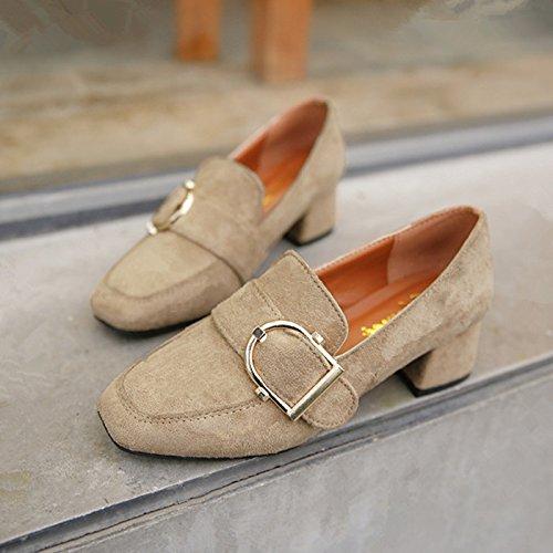 GAOLIM Gruesas Con Zapatos De Tacón Bajo Los Zapatos De Primavera Y Otoño Ponga Los Pies Calzados Femeninos Zapatos Para Trabajar Un Solo Mate Zapatos Zapatos De Mujer Beige