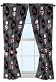 "Star Wars Ep7 Rule Galaxy 63"" Gray Drapery/Curtain 4pc Set (2 Panels, 2 Tie backs) – Kylo Ren & Stormtrooper – Official Product For Sale"
