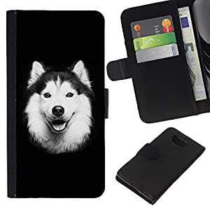 eJoy---La carpeta del tirón la caja de cuero de alta calidad de la PU Caso protector - Samsung ALPHA G850 - --Alaskan Malamute Border Collie Dog