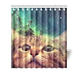 "66""(Width) x 72""(Height) Funny Space Galaxy Nebula Stars Cat 100% Polyester Shower Curtain Bathroom Decoration"