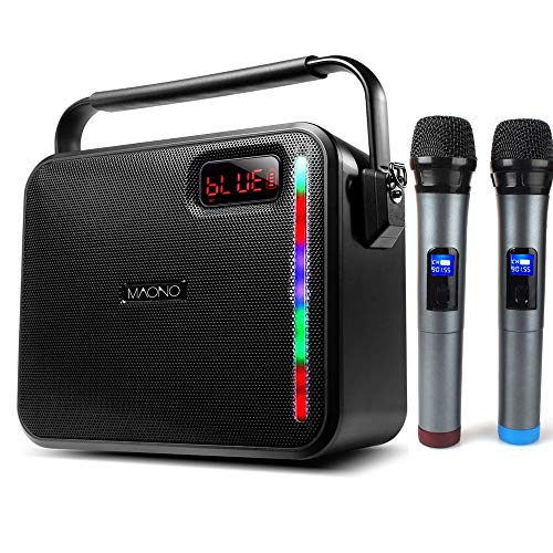 60W PA System, MAONO Wireless Karaoke Machine with Two Metal UHF Wireless Handheld Microphones, AUX-in Mode/USB Input/TF Card/Remote Control/LED Bar for Adults Kids (Black) (Pa Machine)