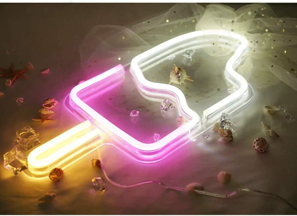 'Popsicle' Shaped LED Neon Signs Decor Wall Decor Art Sign Light for Home Decoration, Bedroom, Lounge, Office, Wedding, Christmas Party Operated bylovelpopsicle (ice Cream)
