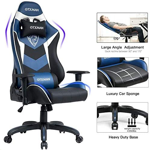 GTXMAN Gaming Chair Racing Style Office Chair Video Game Chair Breathable Mesh Chair Ergonomic Heavy Duty 350lbs Esports Chair Blue LightBlue