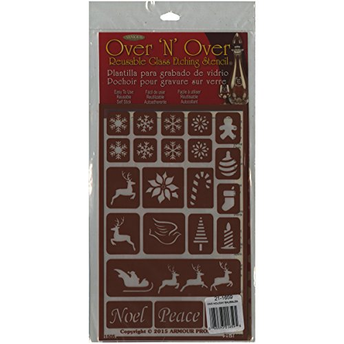 Armour Products 21-1659 Over N Over Glass Etching Stencil, 5-Inch by 8-Inch, Holiday ()