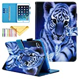iPad Mini 4 Case, Cover for iPad Mini 4 3 2 1, Cookk PU Leather Cartoon Protective Cover with Auto Sleep Wake Feature Stand Wallet Case for Apple iPad Mini 1/2/3/4 7.9 Inch Tablet, Tiger