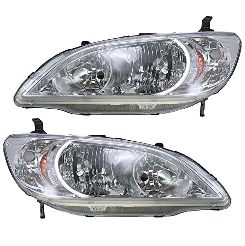 (Front Headlights Headlamps Lights Lamps LH & RH Pair Set for 04-05 Honda Civic)