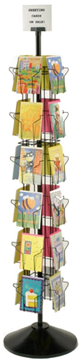 Greeting Card Display Rack with (24) 5 x 7 Pockets, 66'' Tall Rotating Wire Stand - Black Wire Construction with Plastic Base and Sign Holder