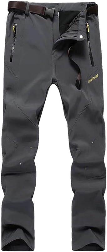 DianShao Hombre Senderismo Deportivos Transpirable Escalada Impermeable Espesar Calor Casual Pantalones