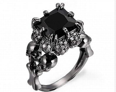 Amazon com: Wedding Rings for Women Skull Heads Around Vintage Black