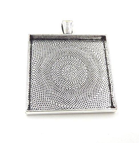 10 Deannassupplyshop Square Pendant Trays - Antique Silver - 35mm - Pendant Blanks Cameo Bezel Settings Photo Jewelry - Custom Jewelry Making