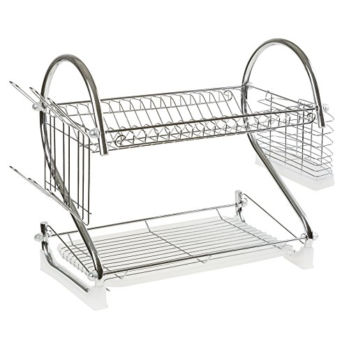 Chrome Dish Drying Rack - 2 Tiered with Cup and Utensil Holders by Chef Buddy
