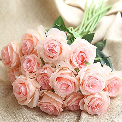 Amzali Artificial Flowers, Real Touch Flowers Long Stem Silk Artificial Rose Flowers Home Decor for Bridal Wedding Bouquet, Birthday Flowers Bunch Party Garden Floral Arrangement Pink (Stems Silk Rose)