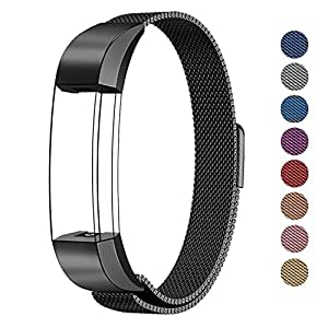 Swees Fitbit Alta Hr And Alta Bands Metal, Milanese Stainless Steel Replacement Accessories Metal Small & Large Band For Fitbit Alta Hr And Alta, Black